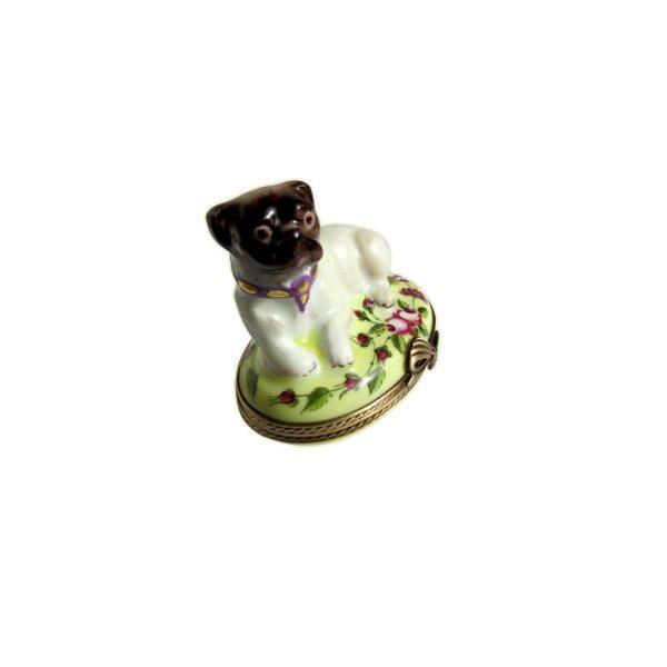 boîte collection chien carlin limoges France peint main