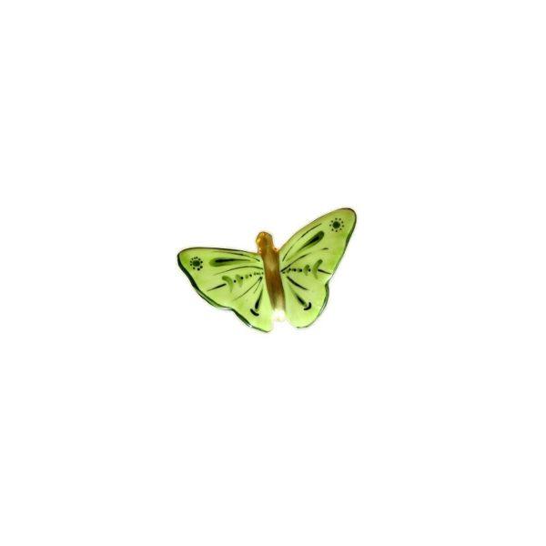 papillon vert peint main limoges france