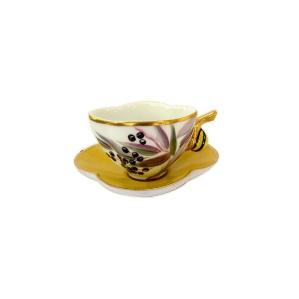 tasse escargot or limoges france peint main